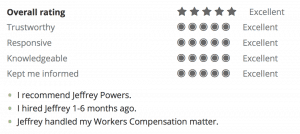 AVVO Overall Rating from Workers Comp Client